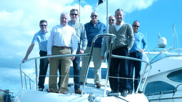 Pictured (left to right): Ian Gallagher, Yamaha; Terry Harrison, Big Red Sales; Peter May, Sennheiser; John Reddington; Barry Kick, Linsar; Ross Wilmington, Otone; James Attfield, Turnstone AV